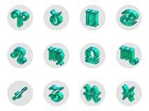 Ensemble d'icônes d'isolement du zodiaque 3D pour le Web et la copie Photos libres de droits