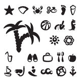 Ensemble d'icônes d'été Images stock