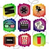 Ensemble d'icônes d'un cinéma Signe multicolore lumineux d'ensemble de cinématographie et de films Photos stock
