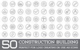 Ensemble d'icônes de bâtiment de construction de vecteur illustration libre de droits