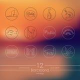 Ensemble d'icônes de Barcelone Images stock
