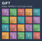 Ensemble d'icônes de cadeau avec la longue ombre Photographie stock