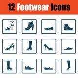 Ensemble d'icônes de chaussures illustration stock