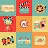 Ensemble d'icônes de cinéma Images libres de droits