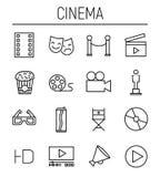 Ensemble d'icônes de cinéma dans la ligne style mince moderne Photos libres de droits