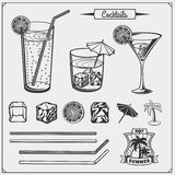 Ensemble d'icônes de cocktails, de labels et d'éléments de conception Images libres de droits