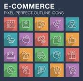 Ensemble d'icônes de commerce électronique et d'achats avec la longue ombre Images libres de droits
