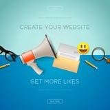 Ensemble d'icônes de concept de construction pour le marketing d'Internet illustration de vecteur