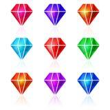 Ensemble d'icônes de diamant de vecteur Image libre de droits