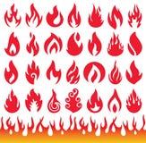 Ensemble d'icônes de flamme Symboles de feu Photo stock