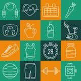 Ensemble d'icônes de forme physique de course d'ensemble Images libres de droits