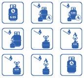 Ensemble d'icônes de fourneau de camping et de bouteille de gaz Photo stock