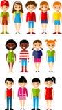Ensemble d'icônes de garçons et de filles d'enfants Photos libres de droits