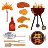 Ensemble d'icônes de gril de barbecue illustration libre de droits
