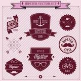 Ensemble d'icônes de hippie de conception dénommées par vintage. Fond de vecteur illustration stock