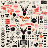 Ensemble d'icônes de hippie de conception dénommées par vintage Signes de vecteur et calibres de symboles illustration libre de droits