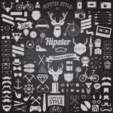 Ensemble d'icônes de hippie de conception dénommées par vintage Signes de vecteur et calibres de symboles Images stock