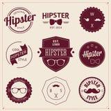 Ensemble d'icônes de hippie de conception dénommées par vintage. Vecteur illustration de vecteur