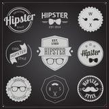 Ensemble d'icônes de hippie de conception dénommées par vintage Vecteur Images libres de droits