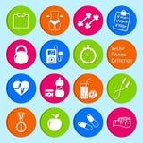 Ensemble d'icônes de la vie de forme physique et de santé Photos libres de droits
