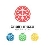 Ensemble d'icônes de labyrinthe de cerveau Images libres de droits
