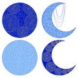 Ensemble d'icônes de lune d'isolement sur le fond blanc Amulette ethnique illustration libre de droits