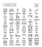 Ensemble d'icônes de meubles dans la ligne style mince moderne Photo stock