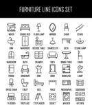 Ensemble d'icônes de meubles dans la ligne style mince moderne Photos stock