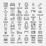 Ensemble d'icônes de meubles dans la ligne style mince moderne Image stock