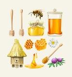 Ensemble d'icônes de miel de vecteur Photos libres de droits