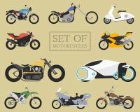 Ensemble d'icônes de moto rétros et modernes vélos plats emballage et motocyclettes de rue Scooter sur le blanc Photo stock