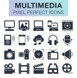 Ensemble d'icônes de multimédia Photos stock