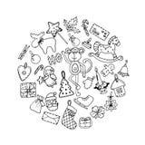 Ensemble d'icônes de Noël de griffonnage d'isolement sur un blanc Photographie stock libre de droits