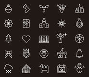 Ensemble d'icônes de Noël et d'hiver Images stock