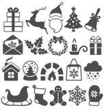 Ensemble d'icônes de noir mat d'hiver de Noël sur le blanc Images libres de droits