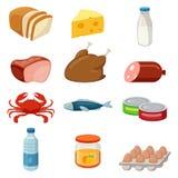 Ensemble d'icônes de nourriture et de produits D'isolement sur le blanc Vecteur Photographie stock