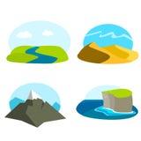 Ensemble d'icônes de paysage Illustration de Vecteur
