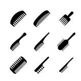 Ensemble d'icônes de peigne de cheveux dans le style de silhouette, vecteur illustration stock
