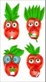 Ensemble d'icônes de personnes d'animaux d'un rouge avec des émotions Photos stock