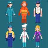 Ensemble d'icônes de personnes dans le cuisinier plat de style, mécanicien, coiffeur, policier, pompier, docteur Service des urge illustration de vecteur
