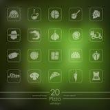 Ensemble d'icônes de pizza Images libres de droits