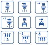Ensemble d'icônes de poissons Grilled Photographie stock