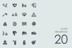 Ensemble d'icônes de pompiers Photographie stock libre de droits