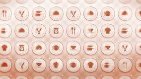 Ensemble d'ic?nes de restaurant Fond de cookware de restaurant Diverse collection d'icônes pour des affaires Animation de boucle  illustration de vecteur
