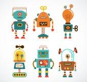 Ensemble d'icônes de robot de vintage Image libre de droits
