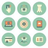 Ensemble d'icônes de sécurité de cercle Photo stock