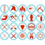 Ensemble d'icônes de sapeurs-pompiers illustration de vecteur