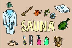 Ensemble d'icônes de sauna illustration stock