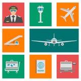 Ensemble d'icônes, de signes et de symbole plats d'aéroport Illustration de vecteur Photos stock