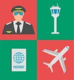 Ensemble d'icônes, de signes et de symbole plats d'aéroport Illustration de vecteur Photographie stock